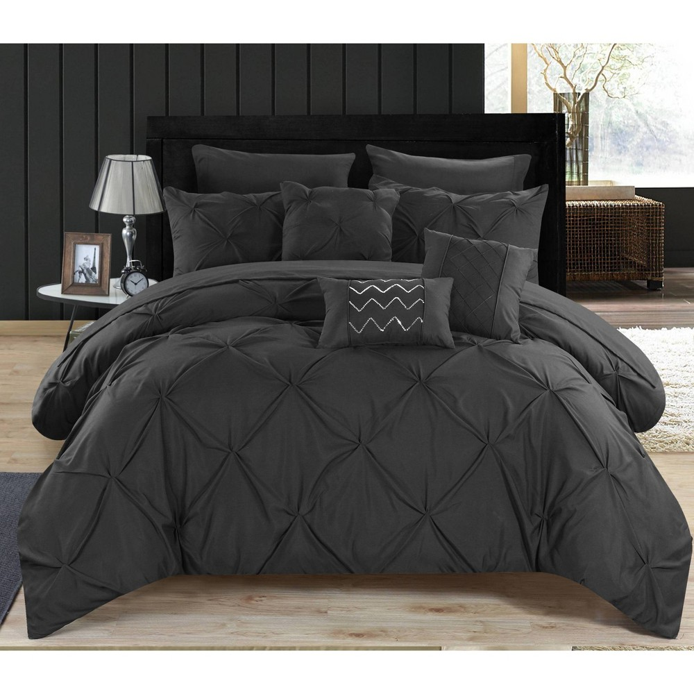 Queen 10pc Valentina Comforter Set Black - Chic Home Design from Chic Home Design