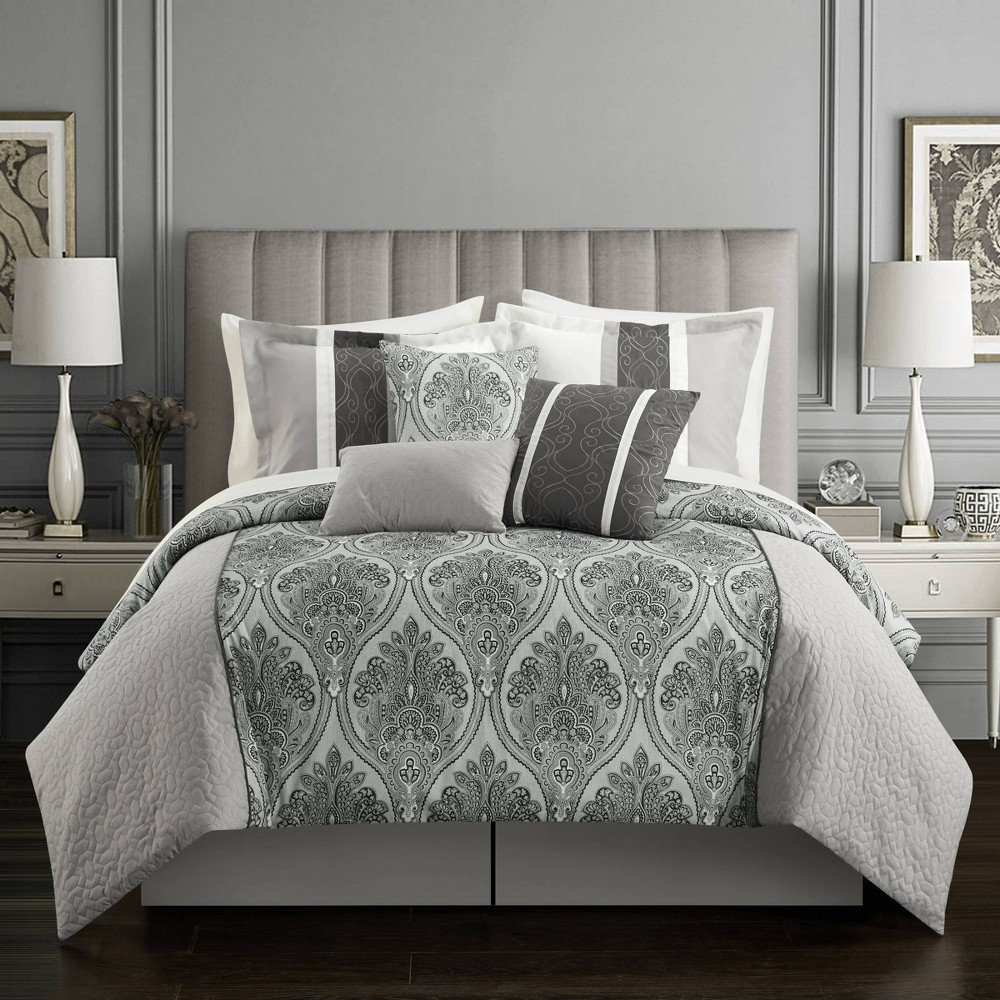 Queen 11pc Roxette Bed In A Bag Comforter Set Gray - Chic Home Design from Chic Home Design