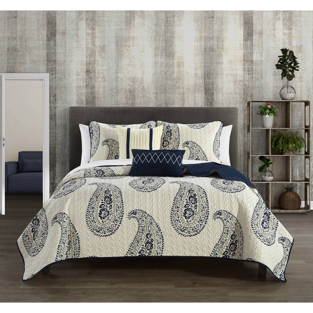 Queen 9pc Shriya Bed in a Bag Quilt Set Navy - Chic Home Design from Chic Home Design