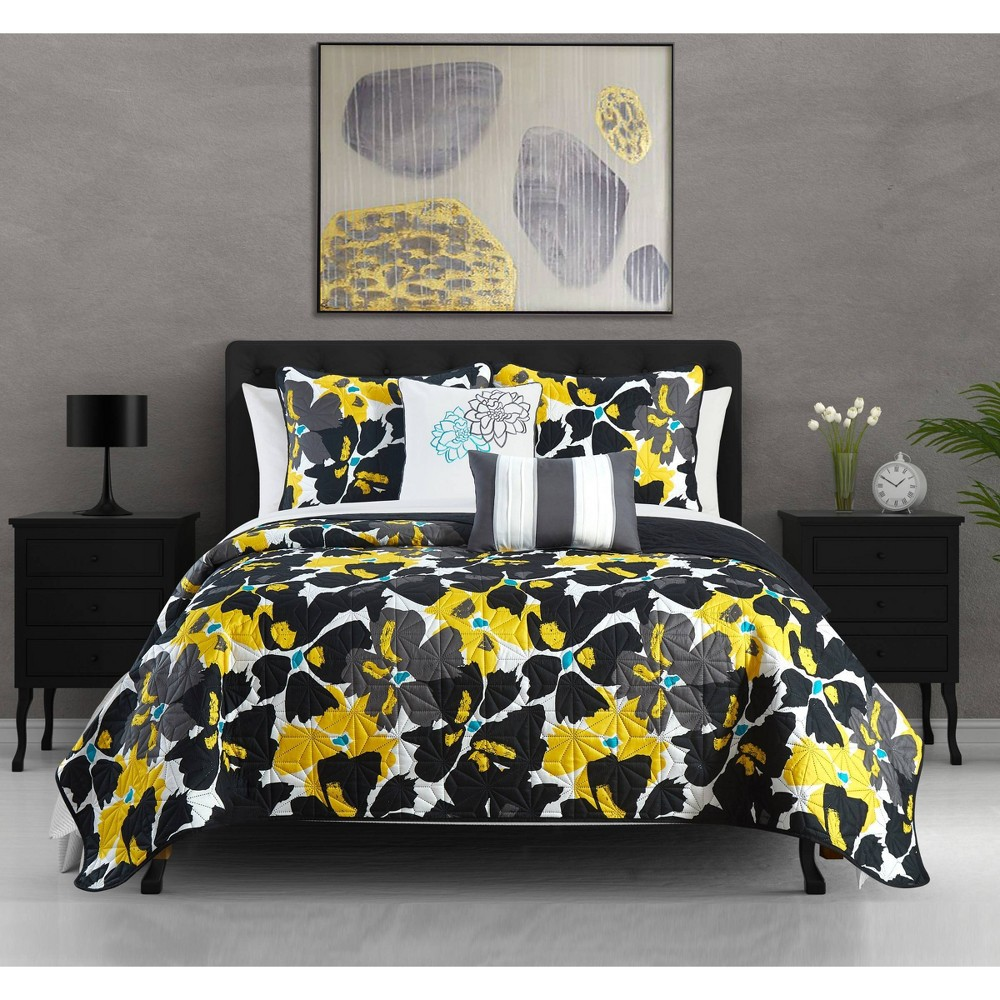 Twin 4pc Astra Quilt Set Black - Chic Home Design from Chic Home Design