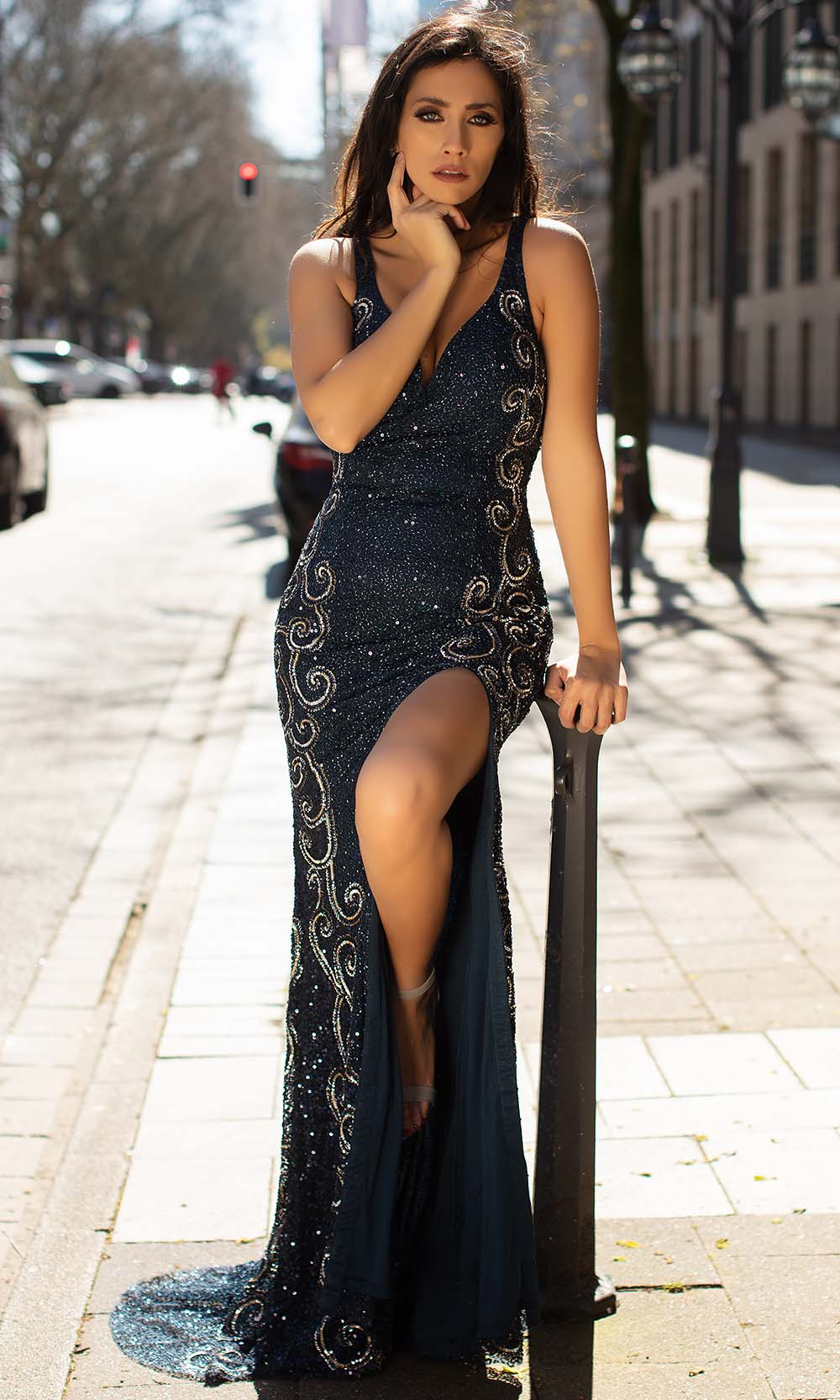Chic and Holland - AN1406 Long Beaded Strappy Back Dress from Chic and Holland