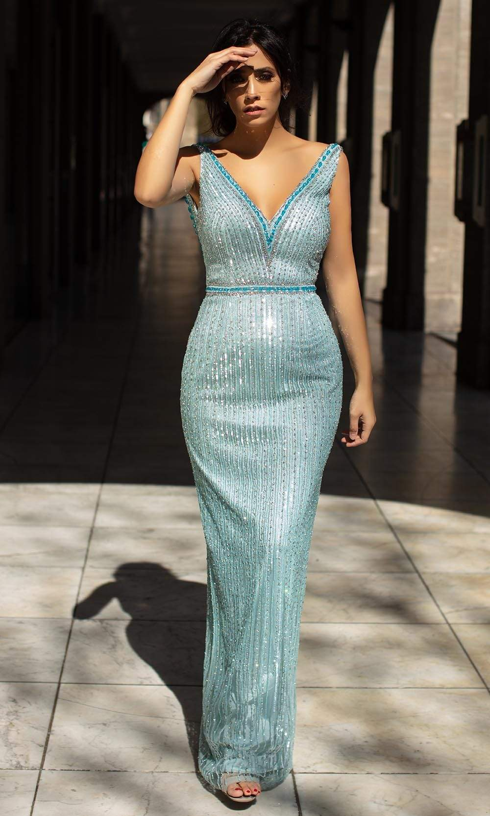 Chic and Holland - AN1408 Backless Beaded Long Dress from Chic and Holland