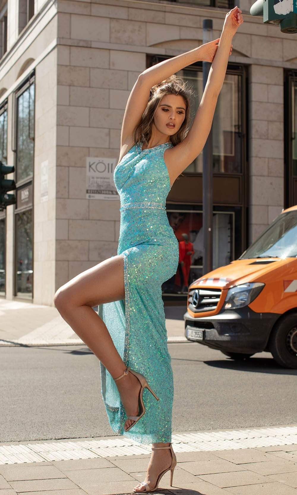 Chic and Holland - AN1411 Sequined Jewel Neck High Slit Dress from Chic and Holland