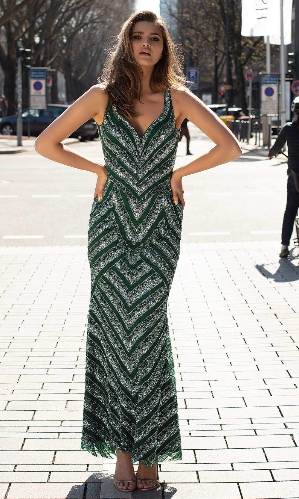 Chic and Holland - AN1415 Chevron Beaded Scoop Back Dress from Chic and Holland