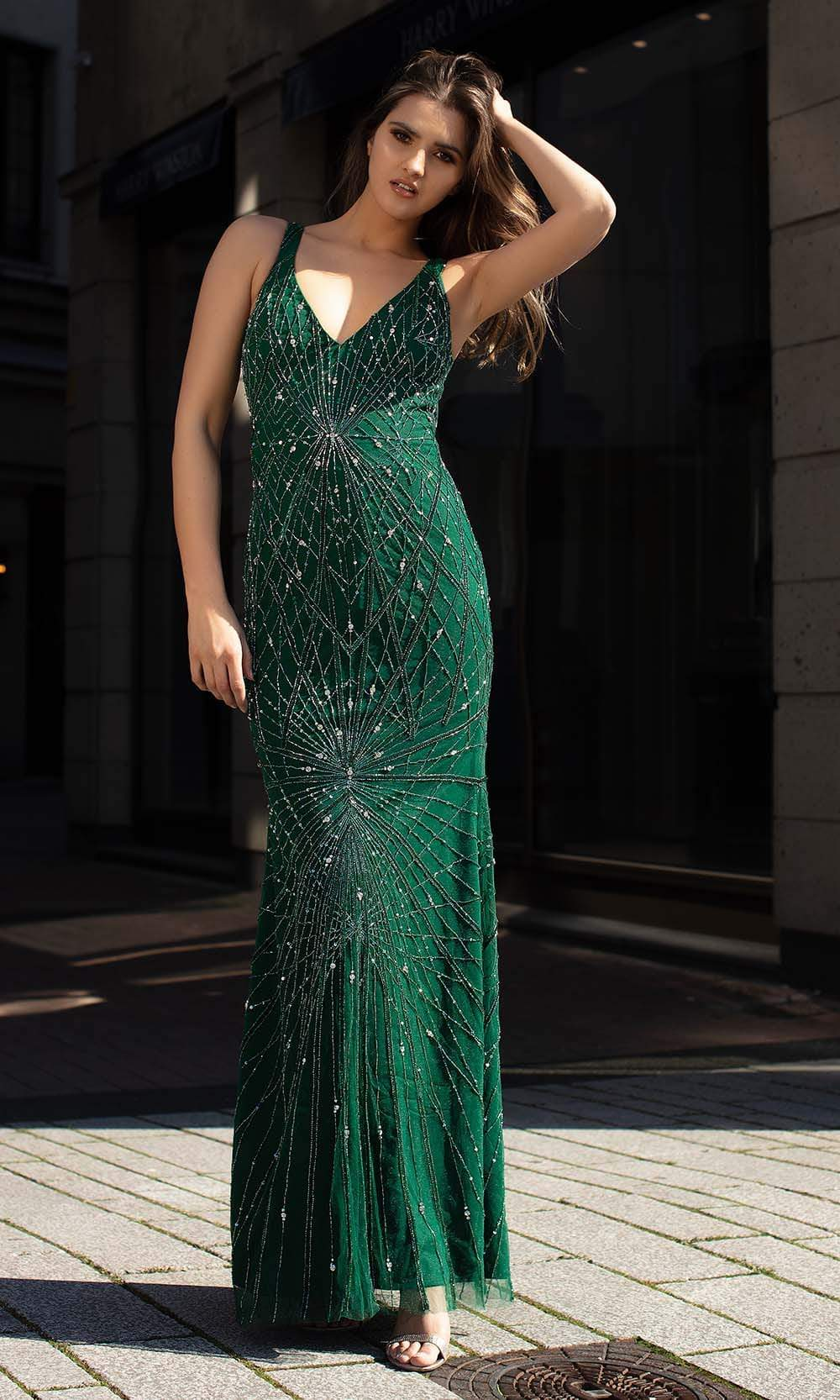 Chic and Holland - AN1416 Cutout Back Beaded Long Dress from Chic and Holland