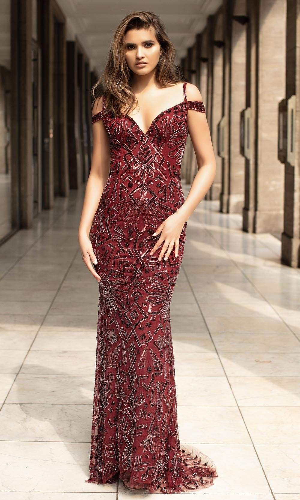 Chic and Holland - AN1455 Sequin Off Shoulder Sheath Dress from Chic and Holland