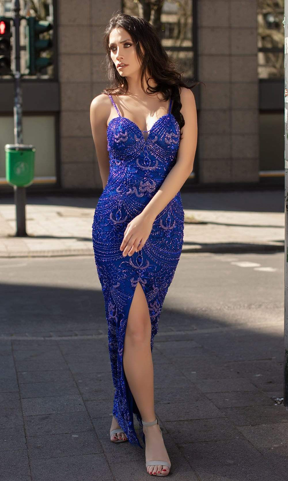 Chic and Holland - AN1483 Glitter Sweetheart Dress with Slit from Chic and Holland