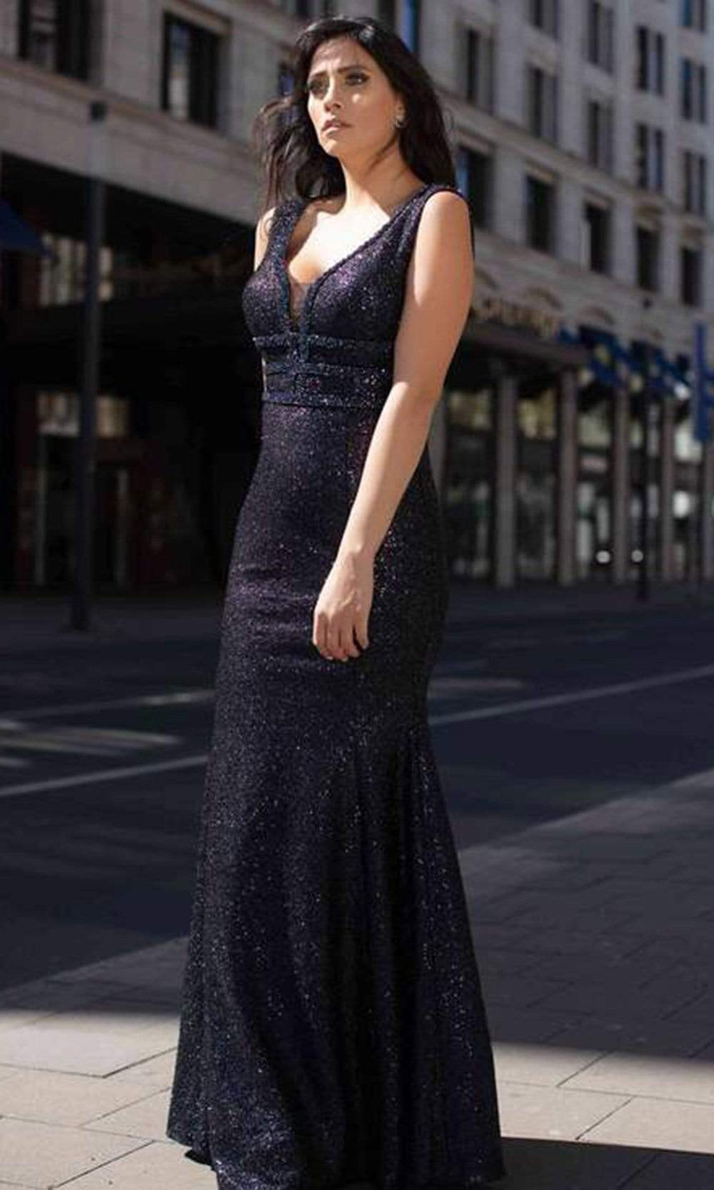 Chic and Holland - AN3007 Plunging Neck Embellished Gown from Chic and Holland