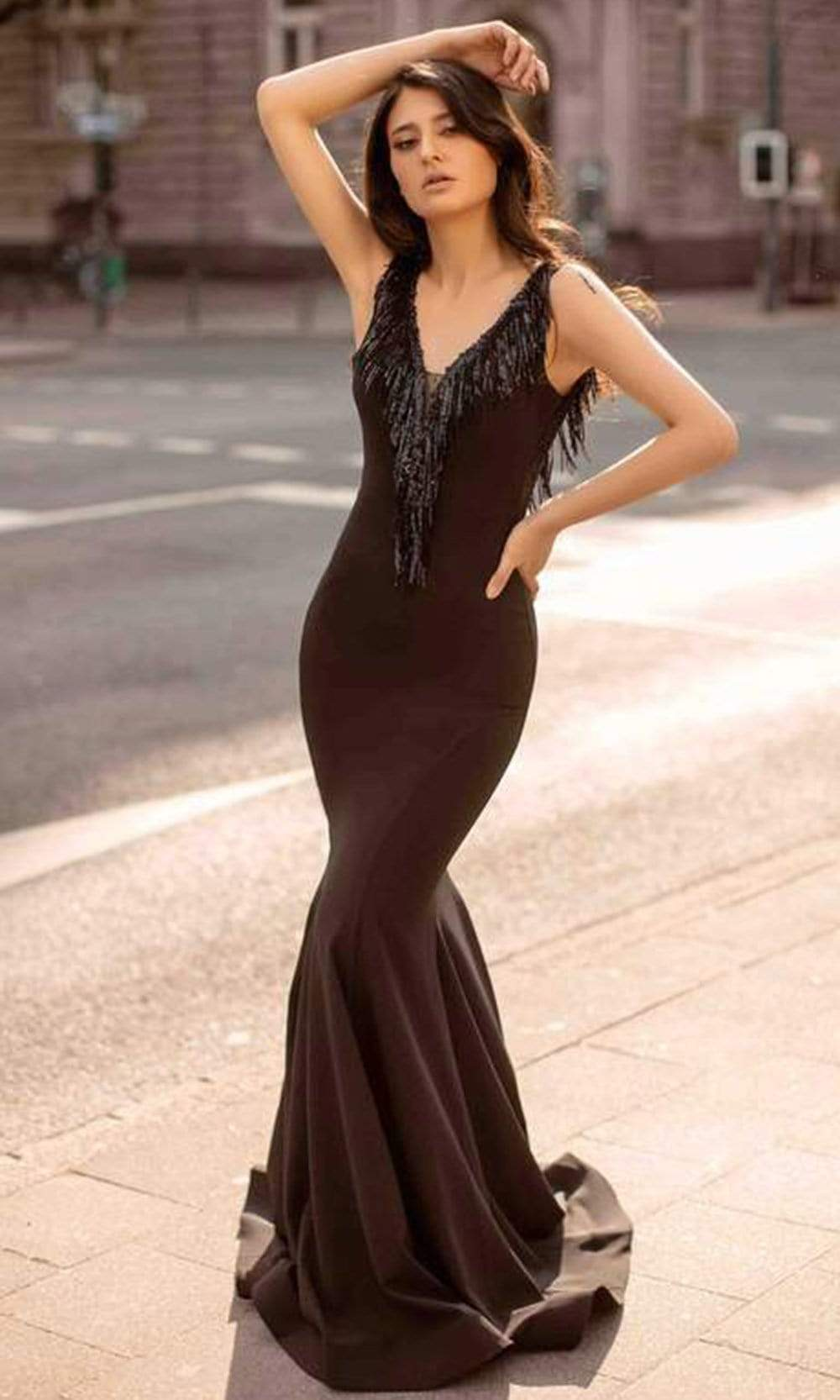Chic and Holland - AN3124 V Neck and V Back Dangling Long Dress from Chic and Holland