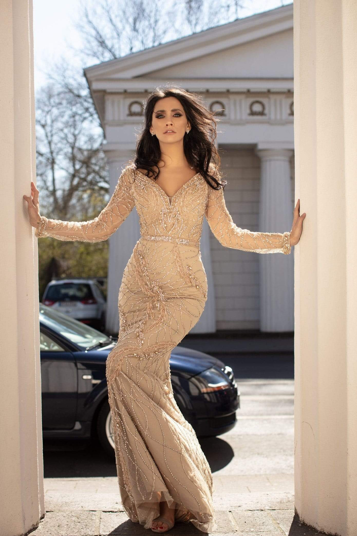 Chic and Holland - HF1476 Long Sleeve V-Neck Fully Beaded Sheath Gown from Chic and Holland