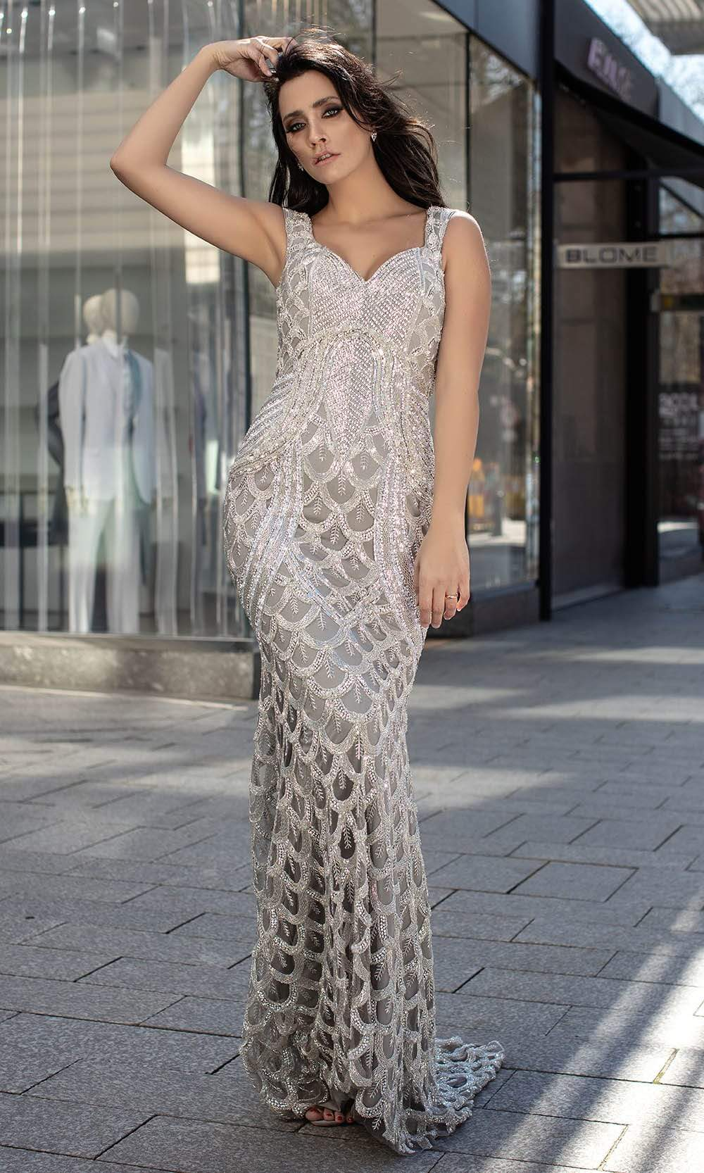 Chic and Holland - HF1518 Rhinestone Embellished Sleeveless Gown from Chic and Holland