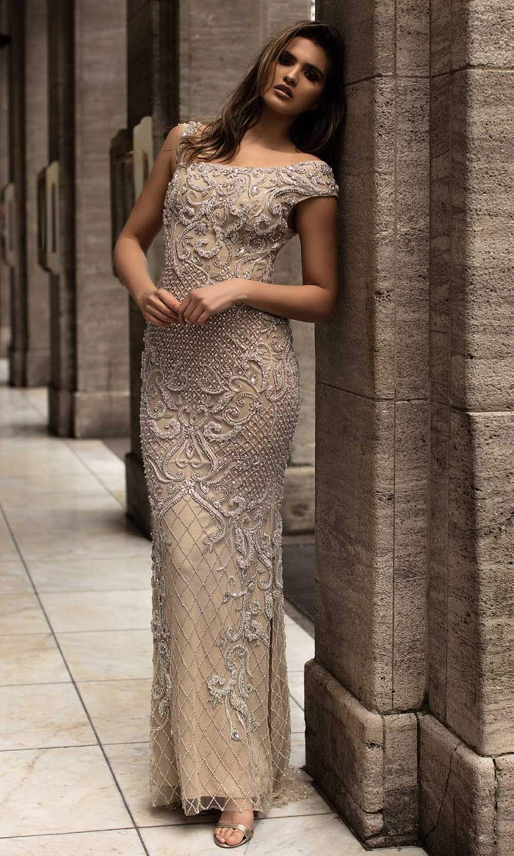 Chic and Holland - HF1520 Bateau Neck Jewel Adorned Sheath Gown from Chic and Holland