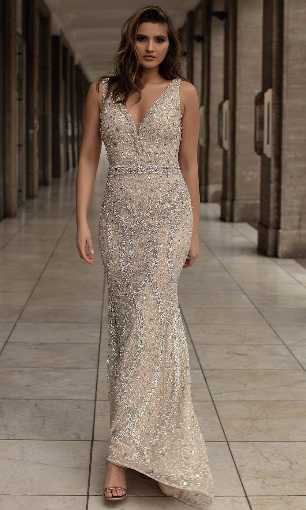 Chic and Holland - HF1521 Sleeveless V-Neck Crystal Embellished Gown from Chic and Holland