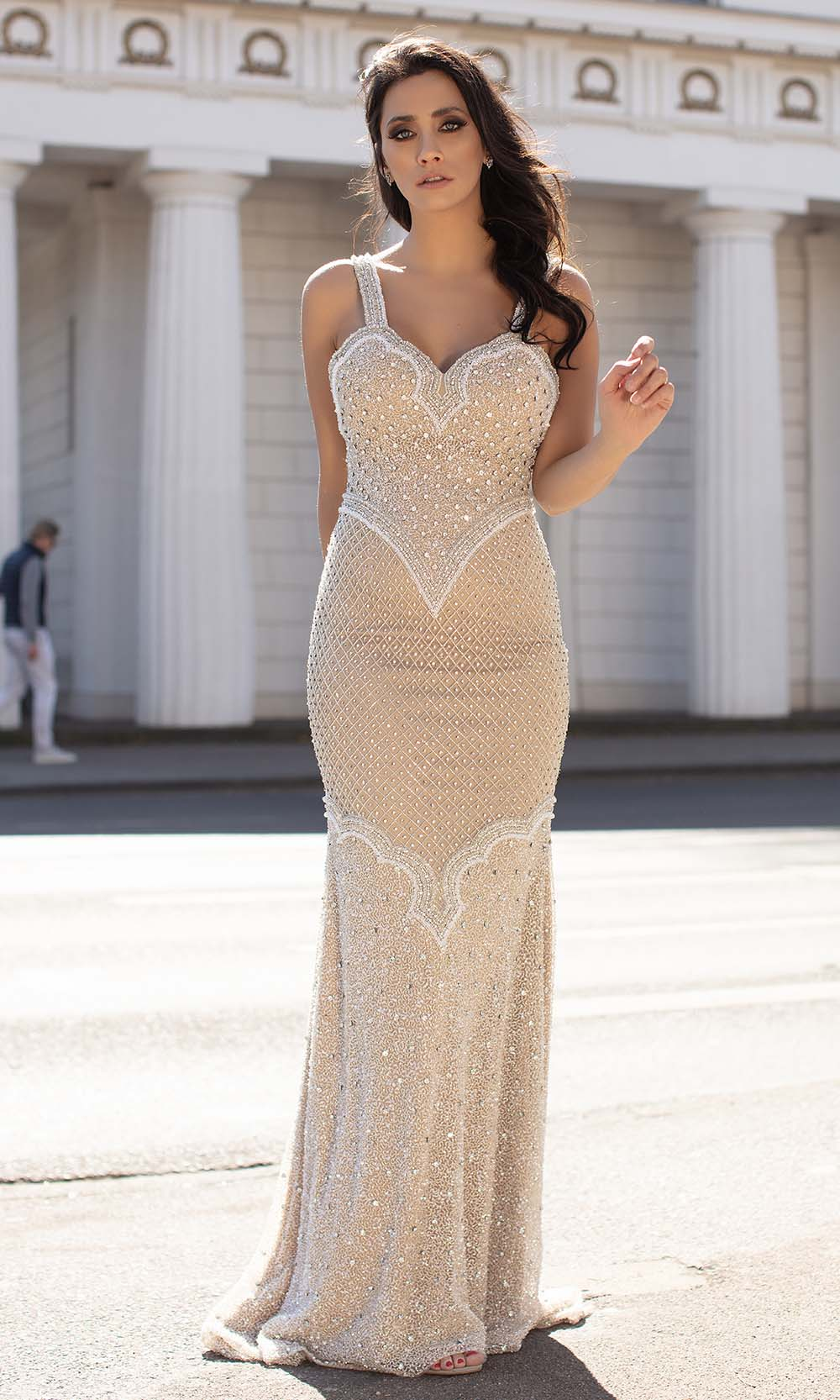 Chic and Holland - HF1522 Sleeveless Sweetheart Crystal Beaded Gown from Chic and Holland
