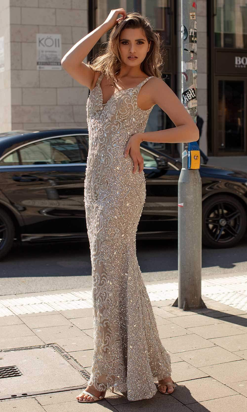 Chic and Holland - HF1539 Embellished Deep V Neck Long Gown from Chic and Holland