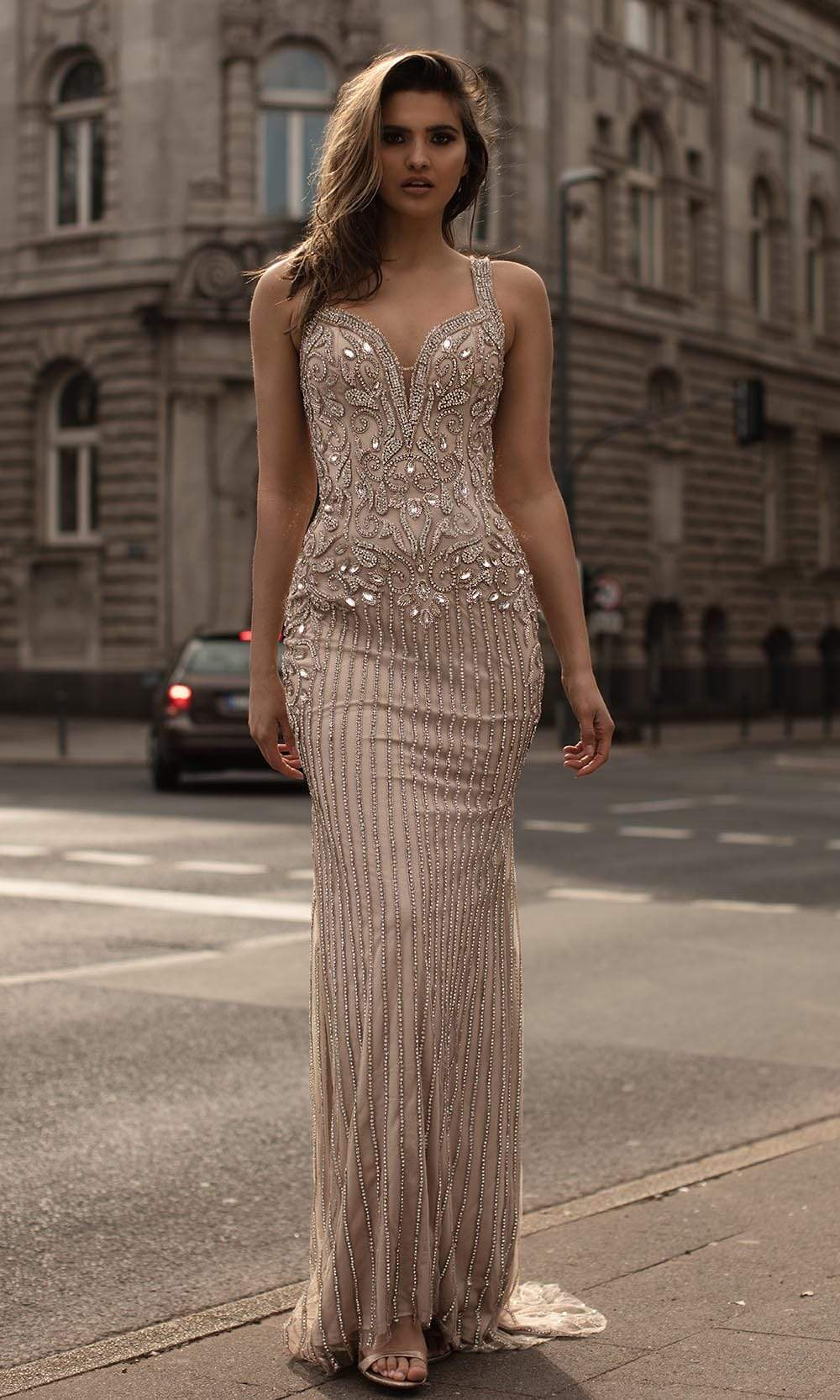 Chic and Holland - HF1542 Sleeveless Embellished Fitted Gown from Chic and Holland