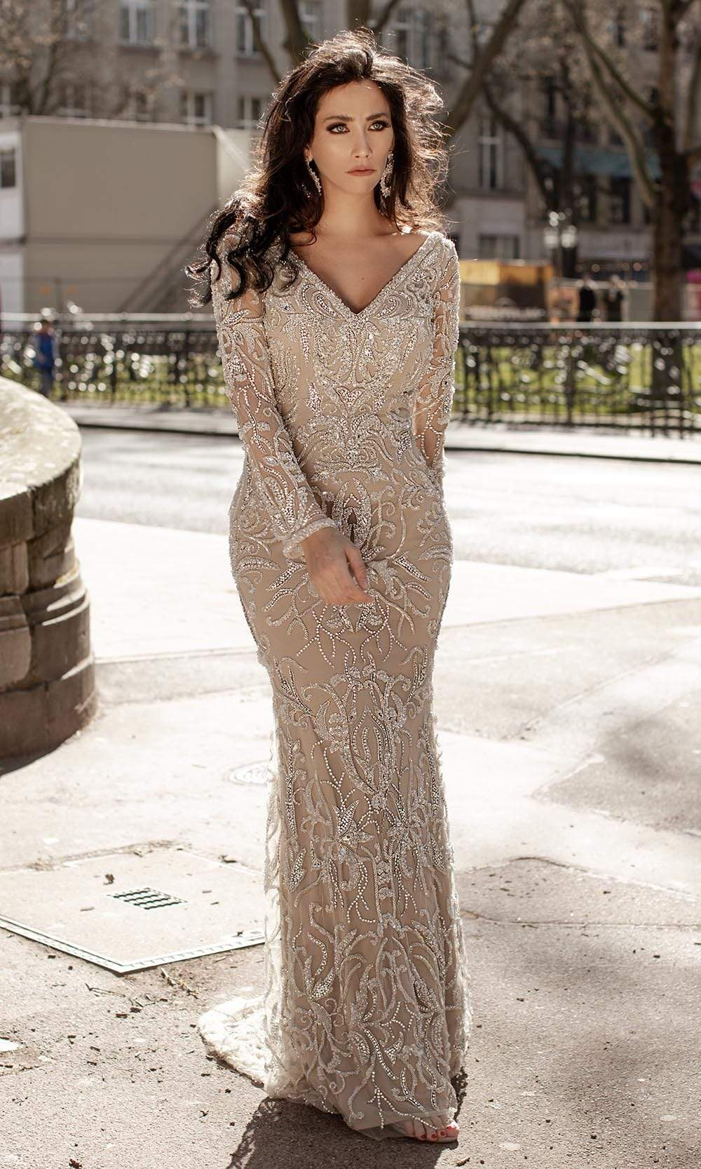 Chic and Holland - HF1552 Bedazzled Long Sleeve Sheath Dress from Chic and Holland