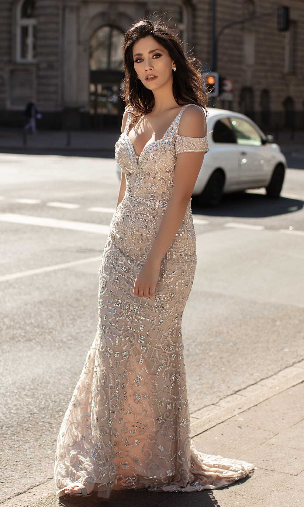 Chic and Holland - HF1558 Beaded Cold Shoulder Long Dress from Chic and Holland