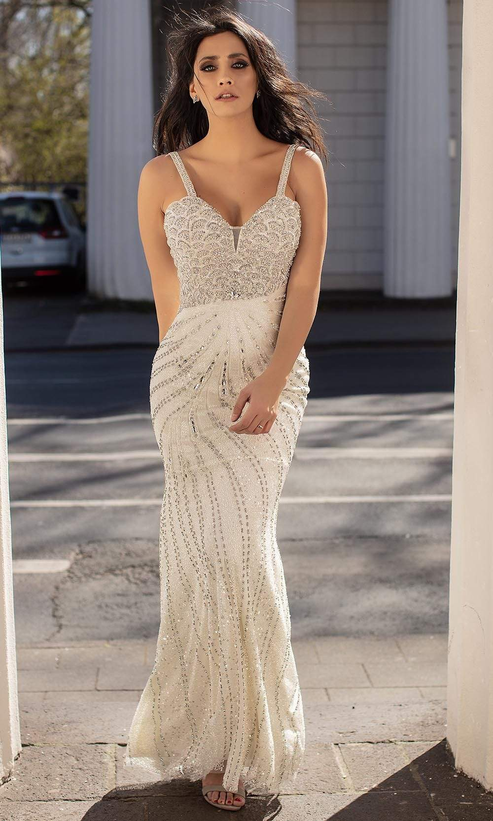 Chic and Holland - HF1560 Beaded Scallop Motif Long Dress from Chic and Holland