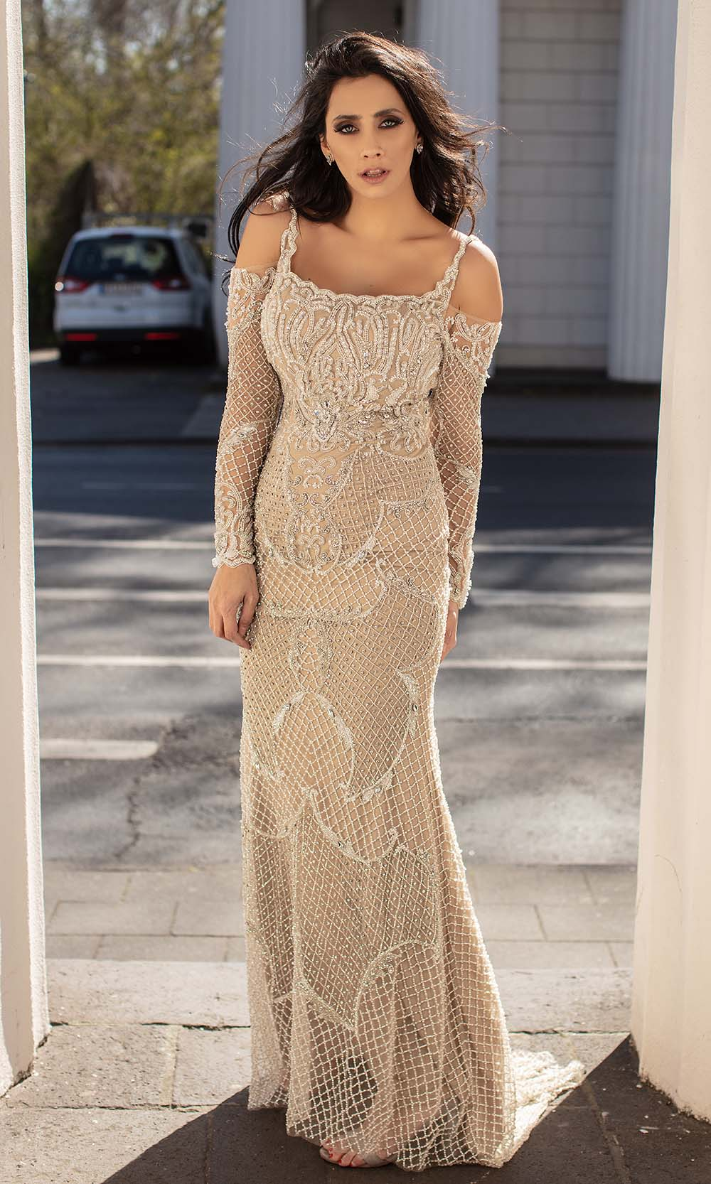 Chic and Holland - HF1568 Cold Shoulder Long Sleeves Dress from Chic and Holland