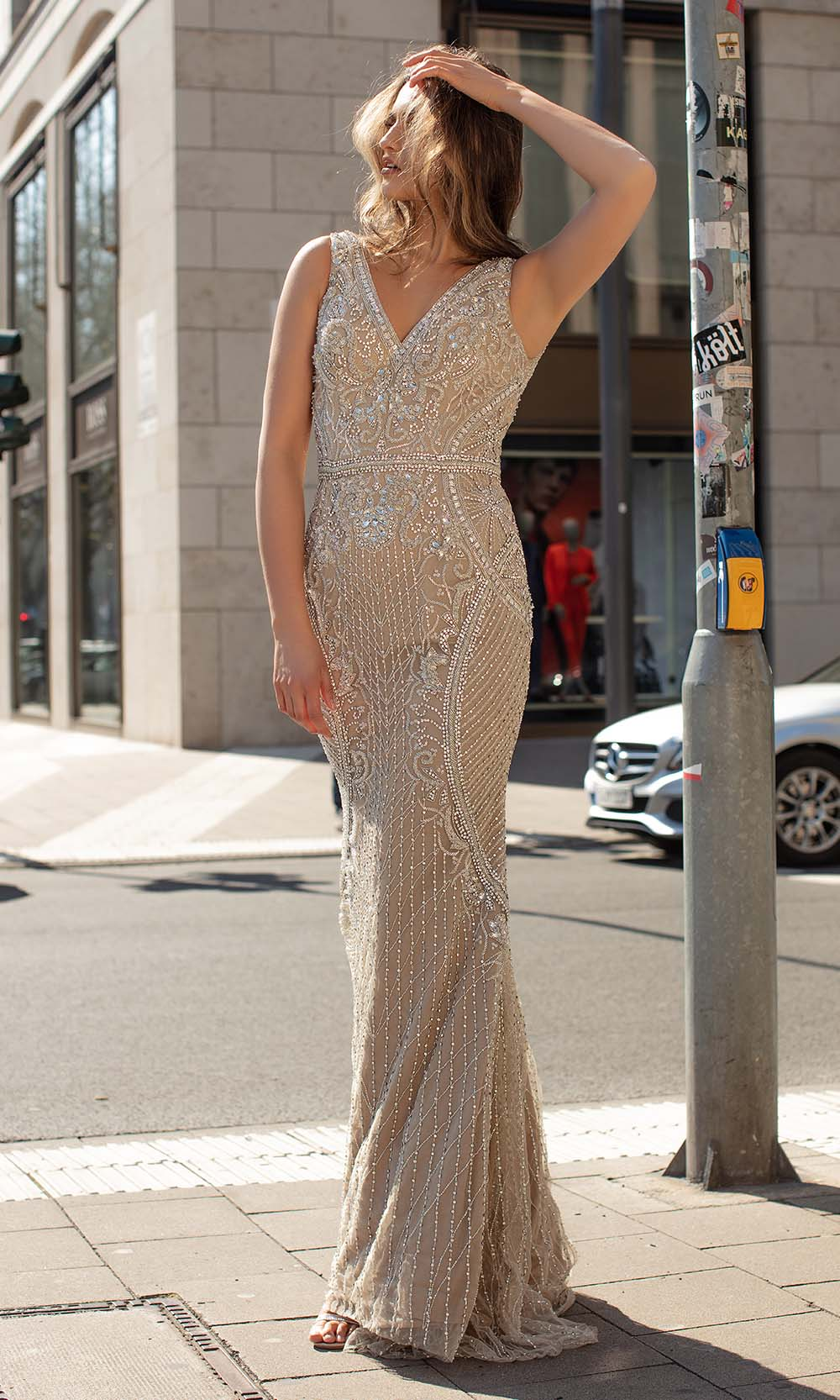 Chic and Holland - HF1569 Sequined V Neck Evening Dress from Chic and Holland