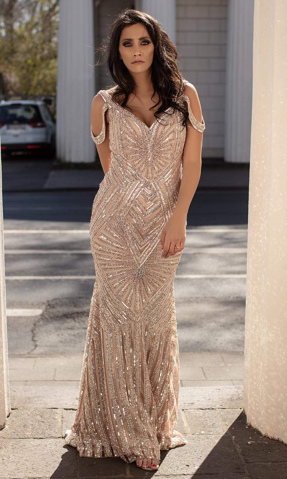 Chic and Holland - HF1588 Cold Shoulder Sequined Trumpet Gown from Chic and Holland