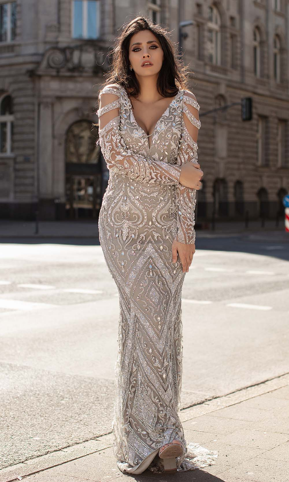 Chic and Holland - HF1597 Cutout Long Sleeves Sequined Dress from Chic and Holland
