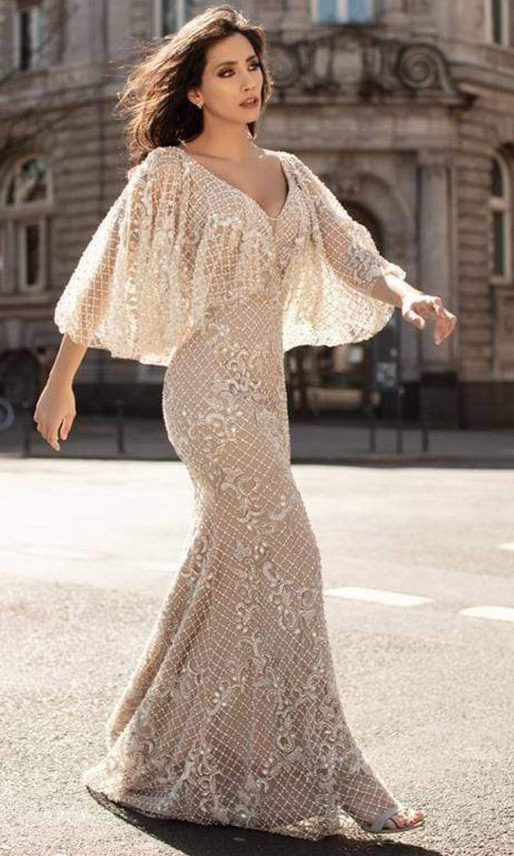 Chic and Holland - HF1611 Bell Sleeve Lattice Trumpet Gown from Chic and Holland