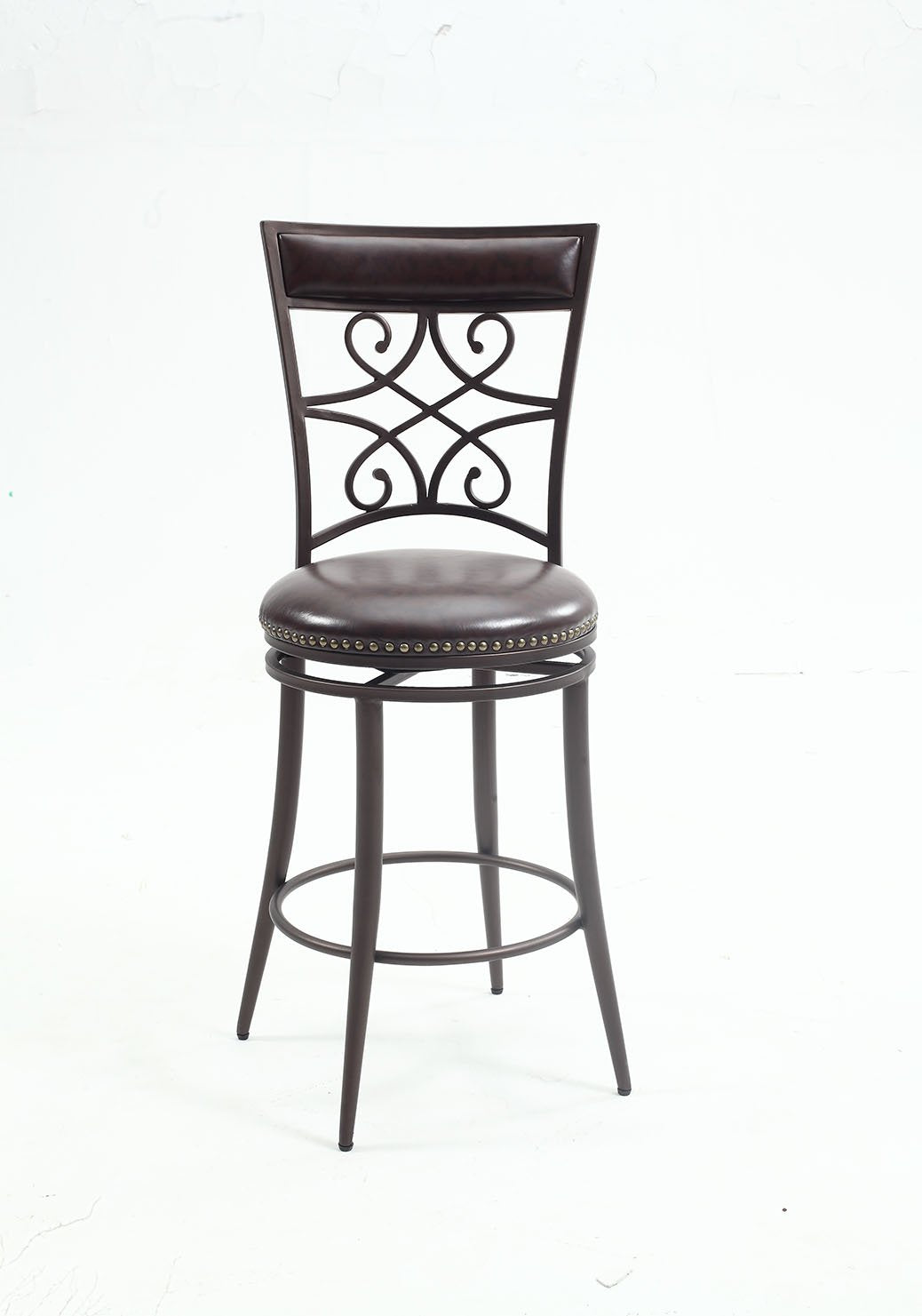 Chintaly 0233-CS Scroll back counter stool from Chintaly