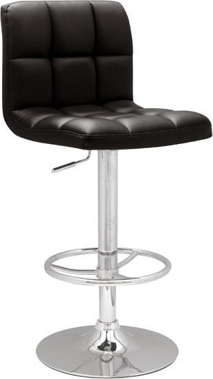 "Chintaly 0394-AS-BLK Stitched Seat & Back Pneumatic Gas Lift Adjustable Height Swivel Stool - 25"" - 33"" from Chintaly"