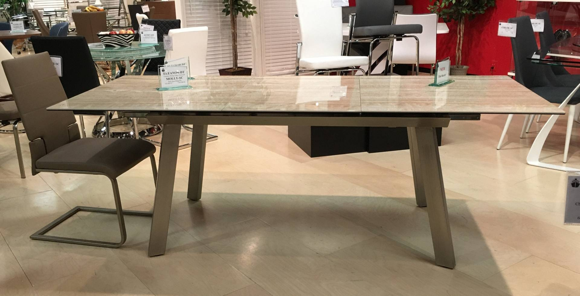 Chintaly ELEANOR-DT 63x35 glass&ceramic table w/ pop up extension from Chintaly