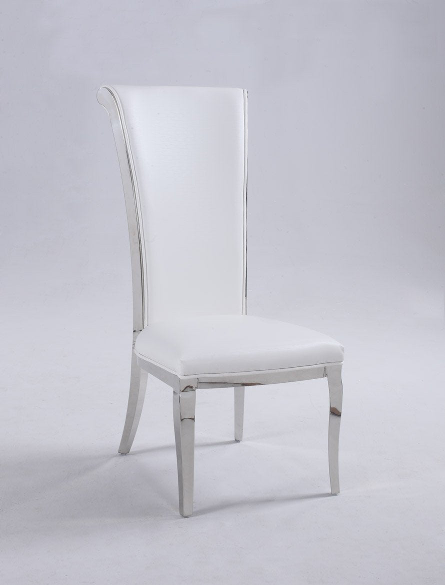 Chintaly JOY-SC-WHT Tall rolled back chair ( Set of 2 ) from Chintaly