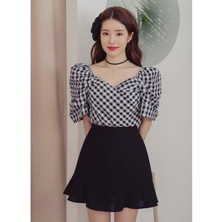 Sweetheart-Neck Gingham Blouse from Chlo.D.Manon