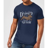 Dachshund Through The Snow Men's Christmas T-Shirt - Navy - M - Navy from Christmas