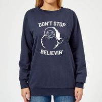 Don't Stop Believin' Women's Christmas Sweatshirt - Navy - S - Navy from Christmas