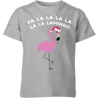 Fa La La La La La La Lamingo Kids' Christmas T-Shirt - Grey - 7-8 Years - Grey from Christmas