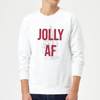 Jolly AF Christmas Sweatshirt - White - XXL - White from Christmas