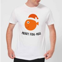 Merry Fish-Mas Men's Christmas T-Shirt - White - L - White from Christmas