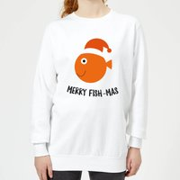 Merry Fish-Mas Women's Christmas Sweatshirt - White - L - White from Christmas