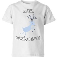 Oh Deer Christmas Is Here Kids' Christmas T-Shirt - White - 3-4 Years - White from Christmas