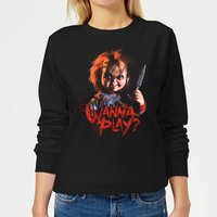 Chucky Wanna Play? Women's Sweatshirt - Black - L - Black from Chucky