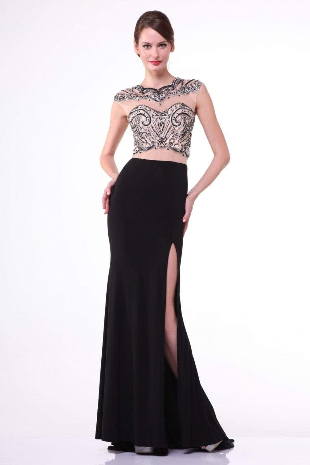 Cinderella Divine - 8786 Beaded Illusion Sheath Dress with Slit from Cinderella Divine