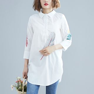 3/4-Sleeve Feather Embroidered Shirt from Clover Dream