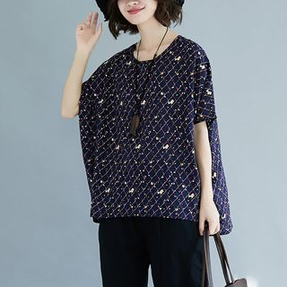 Batwing Elbow-Sleeve Printed Top from Clover Dream