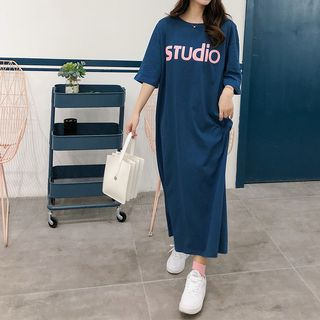 Elbow-Sleeve Lettering Midi T-Shirt Dress from Clover Dream
