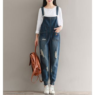 Embroidered Distressed Dungaree from Clover Dream