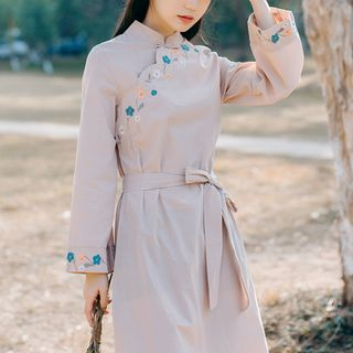 Embroidered Long-Sleeve Midi A-Line Dress from Clover Dream