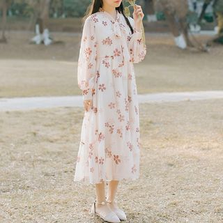 Floral Long-Sleeve Midi Chiffon Dress from Clover Dream