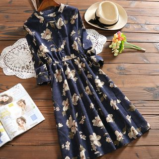 3/4-Sleeve Floral Corduroy Dress from Clover Dream
