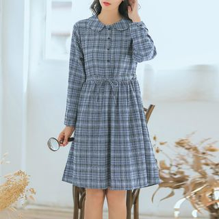 Long-Sleeve Plaid A-Line Dress from Clover Dream